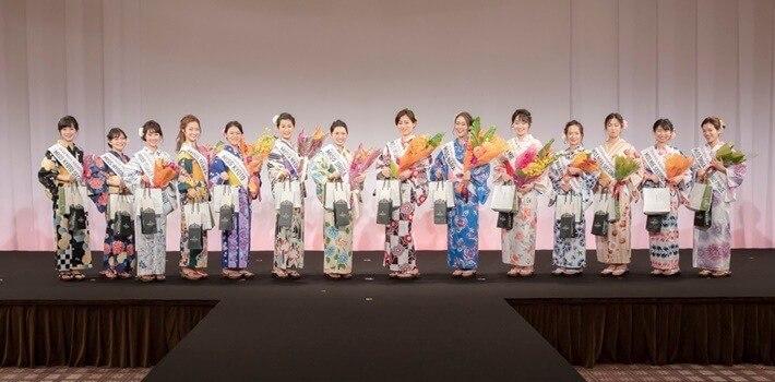 京都さがの館の浴衣を着たミスなでしこ2020年の様子