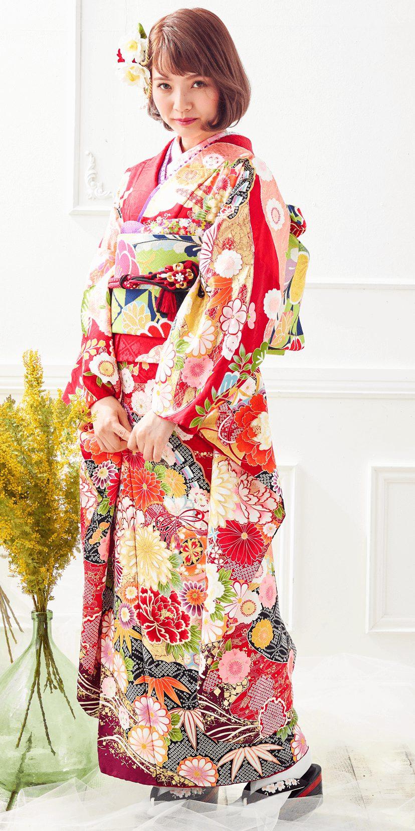 赤地菊と桜に扇[FS0967]