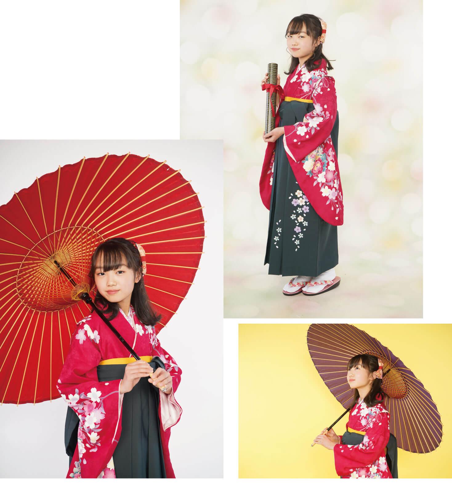 赤い袴姿で前撮りする小学生
