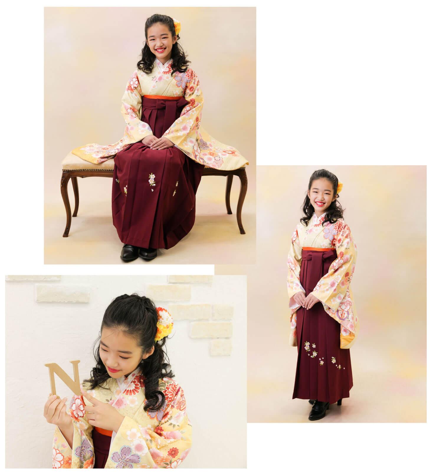 黄色い袴を着た小学生
