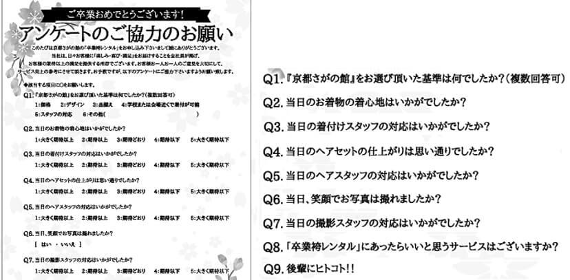 袴レンタルのアンケート
