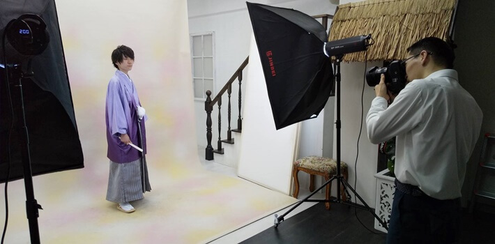 京都さがの館の撮影の様子